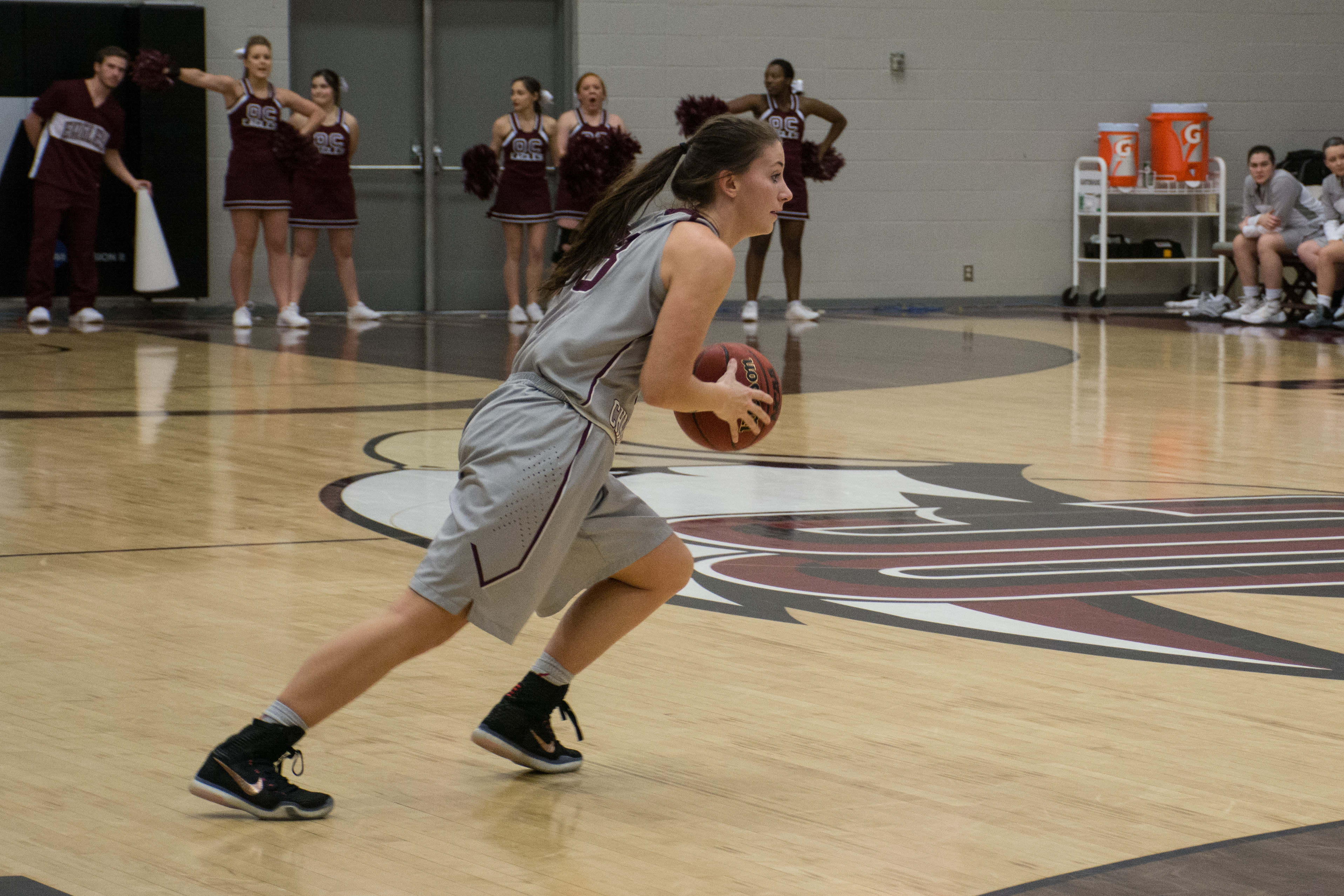 Sarah Parker records seven points and eight rebounds  against Texas A&M International on Jan. 30. Photo by Abby Bellow