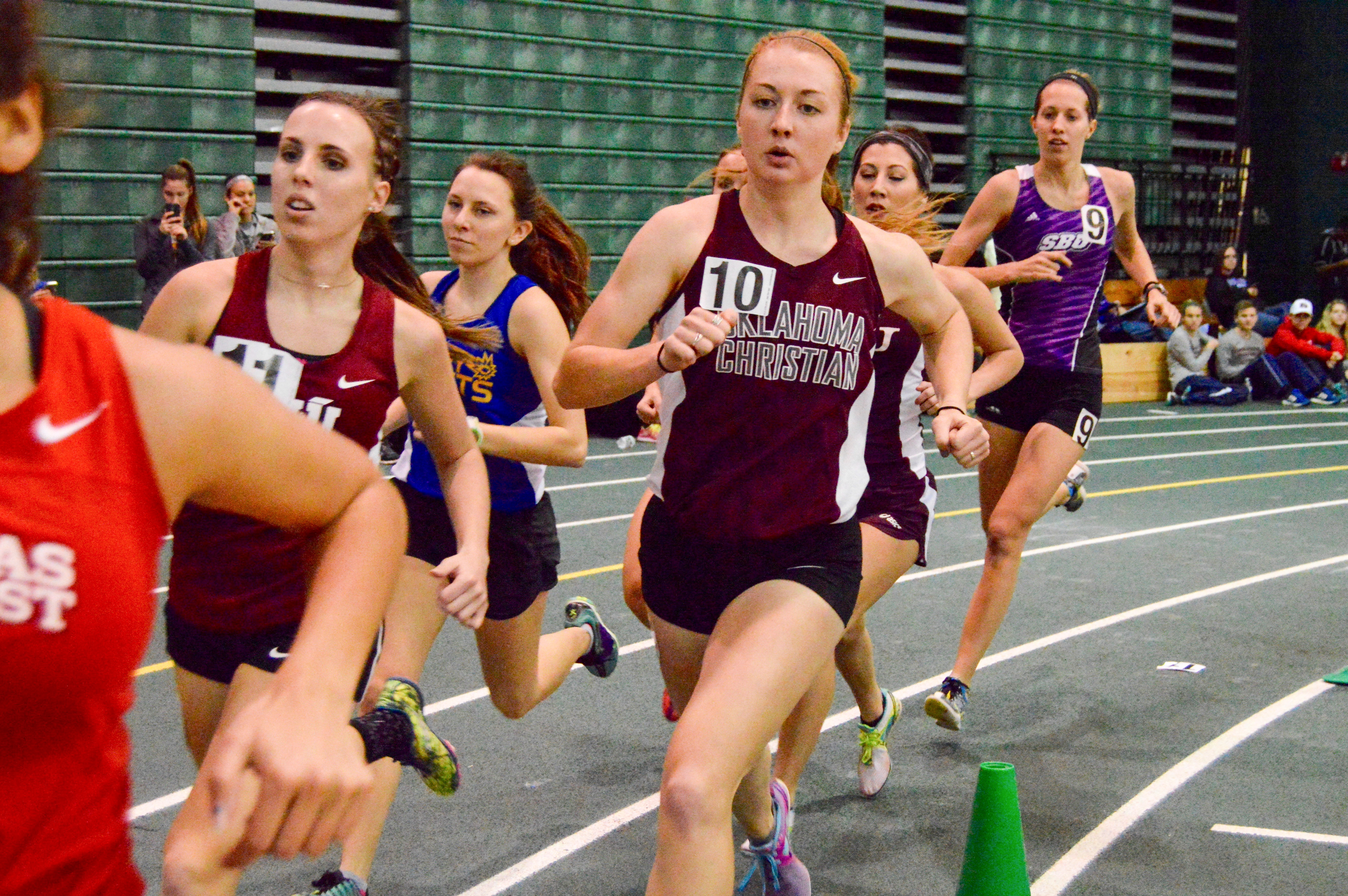 Molly McQuirk leads the Lady Eagles in the 3,000-meter race on Jan. 23. Photo by Katie Jones