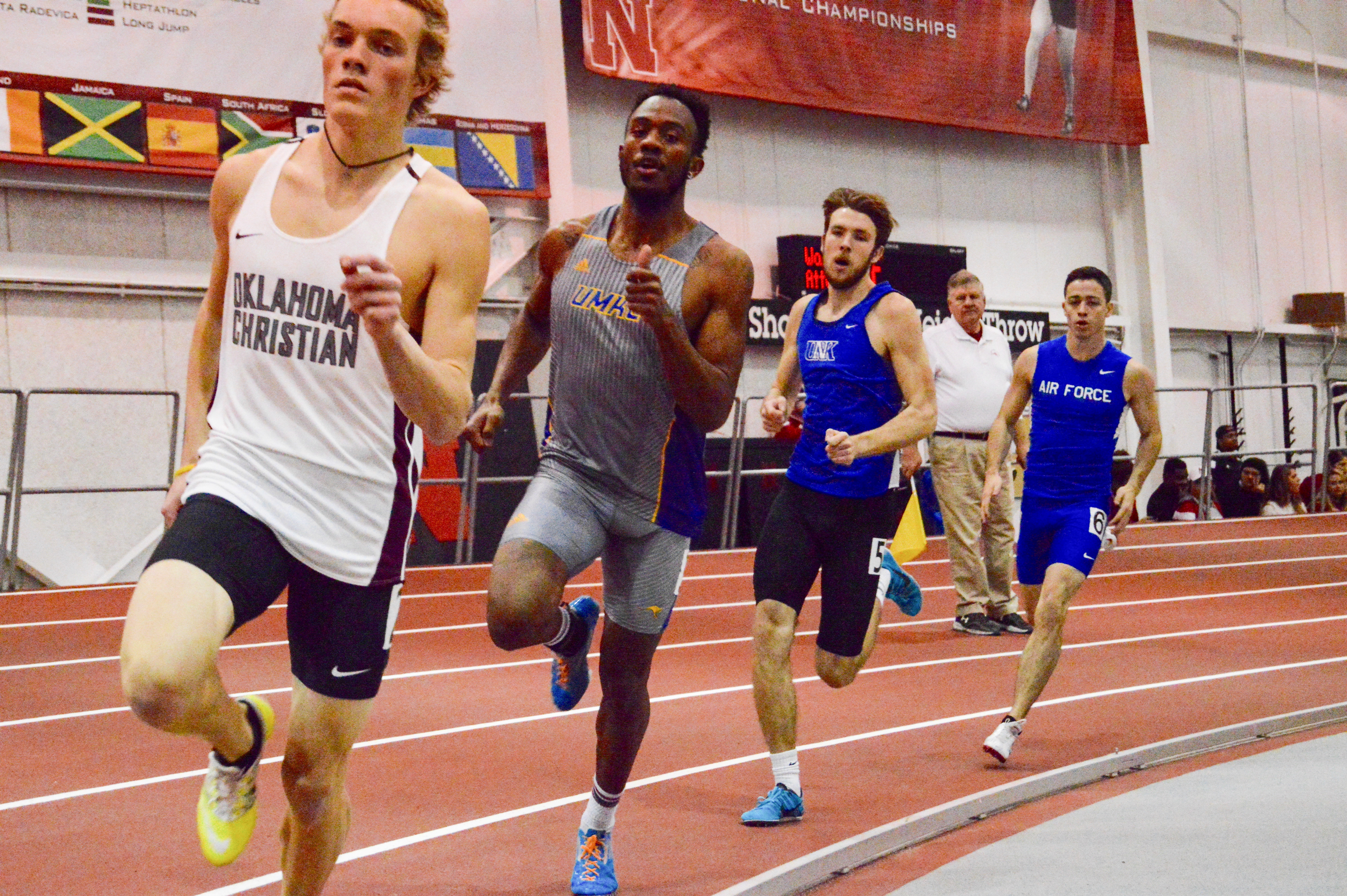Sawyer Pehkonen wins his  600-meter heat and placed 10th in the 30-man field. Photo by Katie Jones