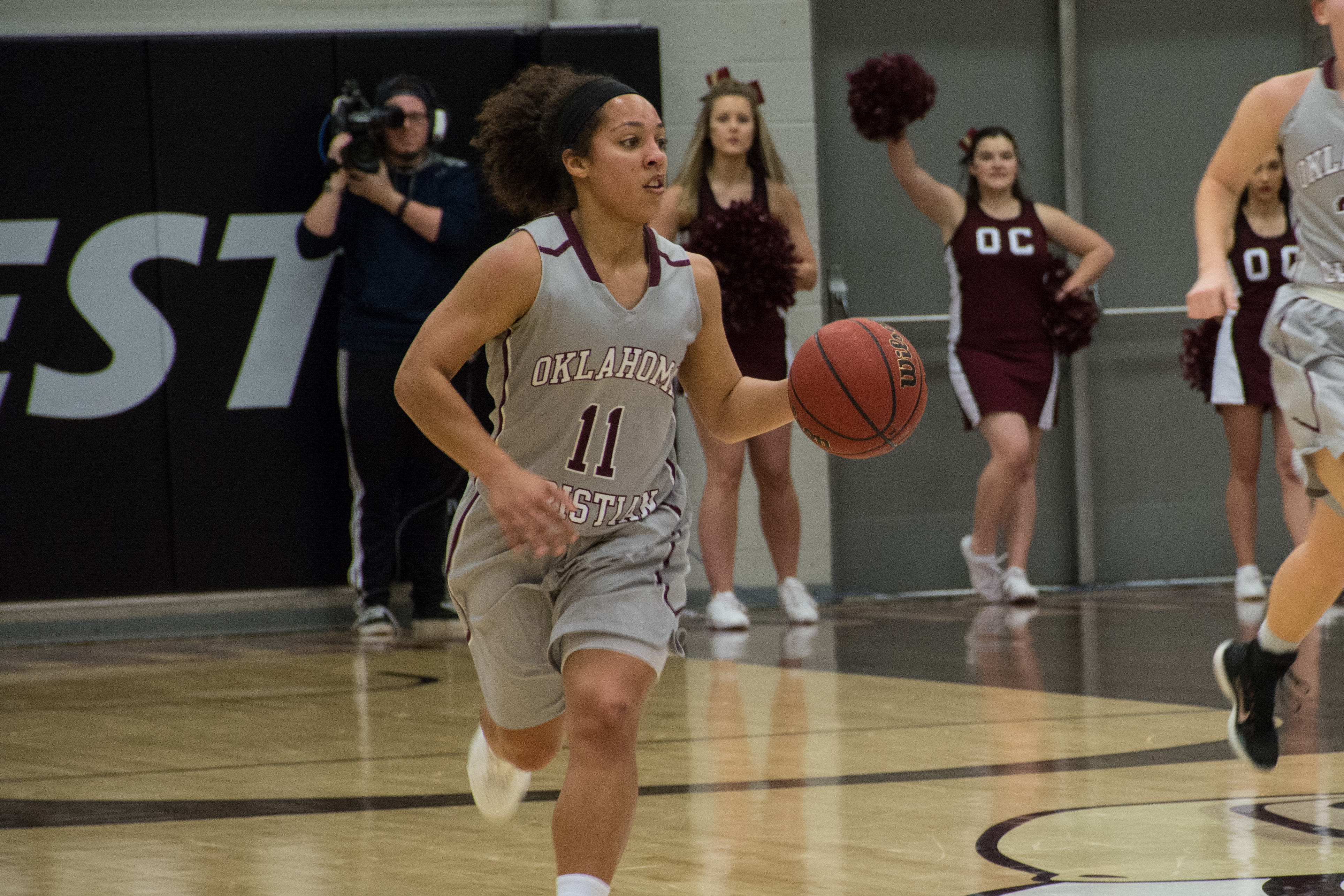 Senior Sydney Hill records 22 points against Texas-Permian Basin on Feb. 27. Photo by Abby Bellow.