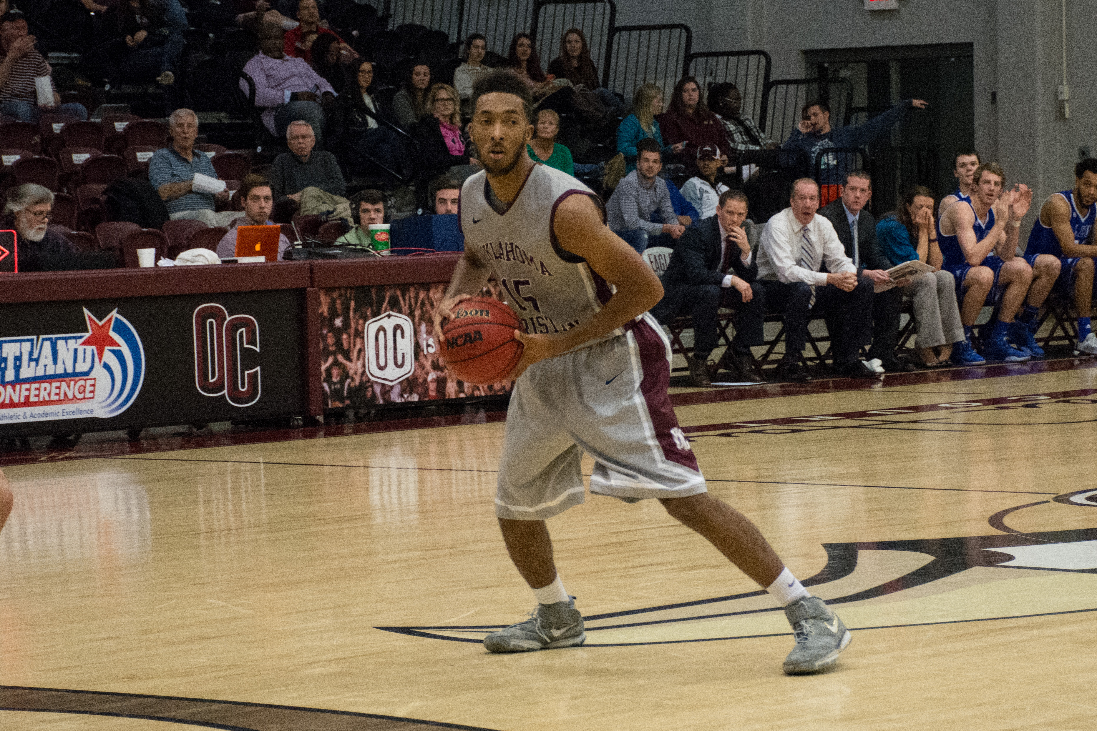 Elijah Strickland records six points and nine assists in Feb. 6's game against Oklahoma Panhandle State University. Photo by Abby Bellow.