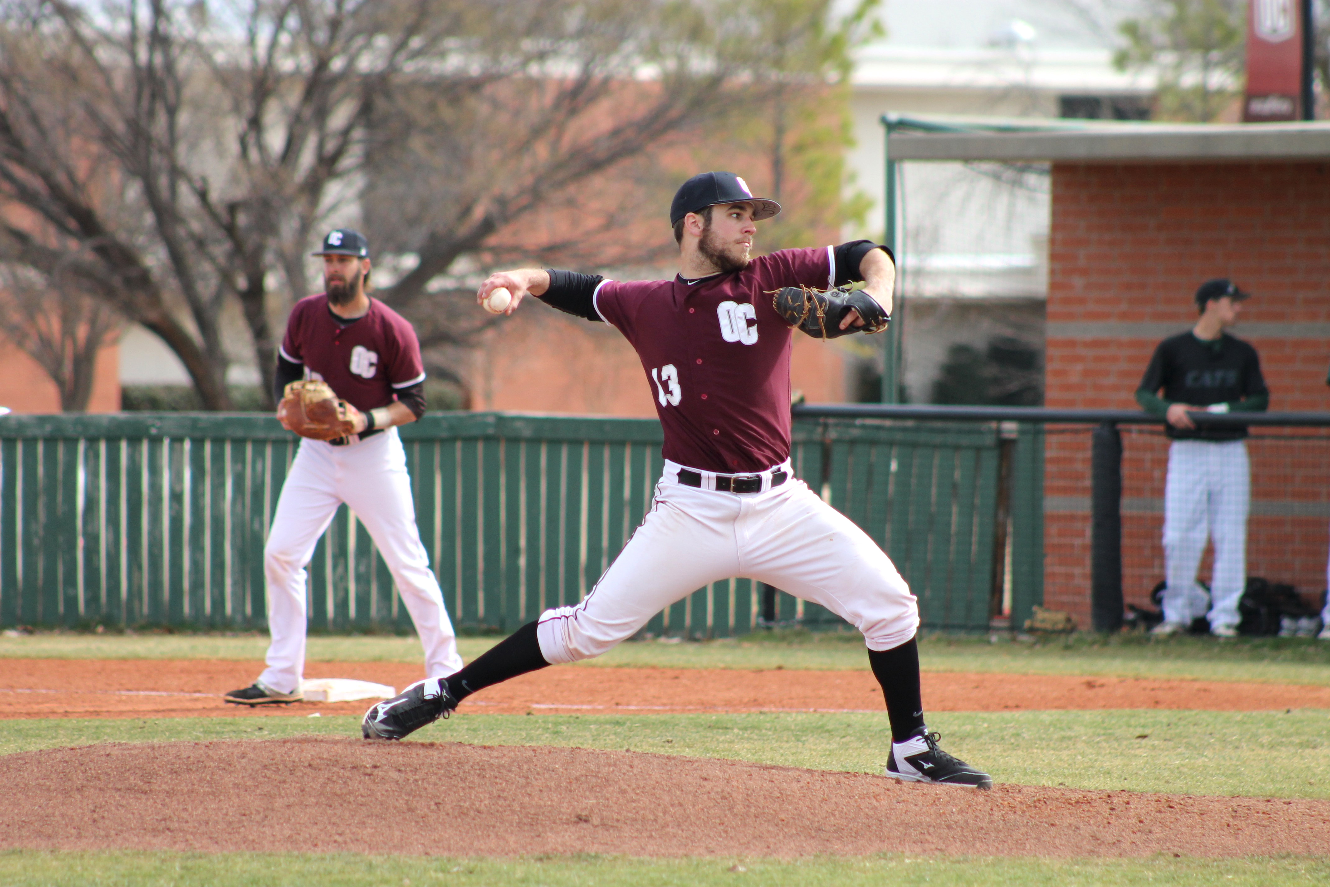 Jared Sterling pitches in the 3-game series against Northwest Missouri State Feb. 19-21. Photo by Allyson Hazelrigg.