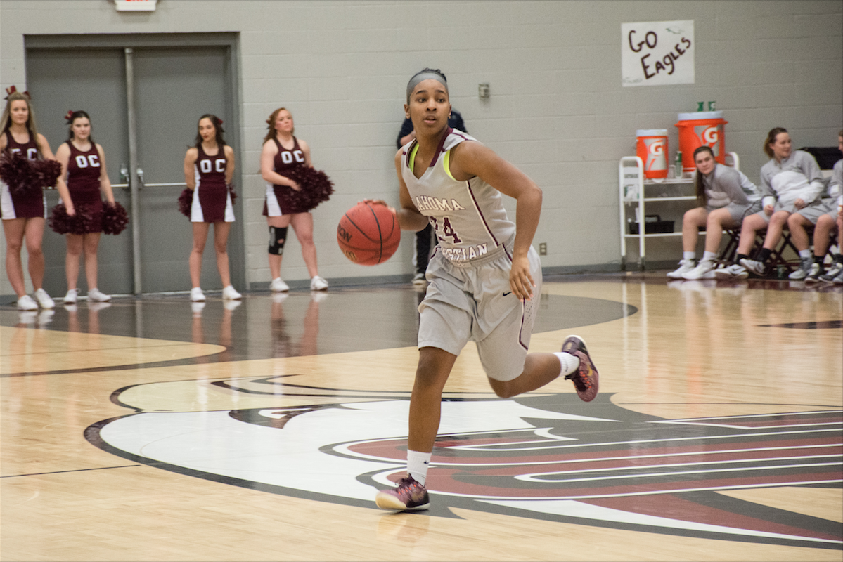 Daisha Gonzaque records eight rebounds against Newman University on Feb. 11. Photo by Abby Bellow.