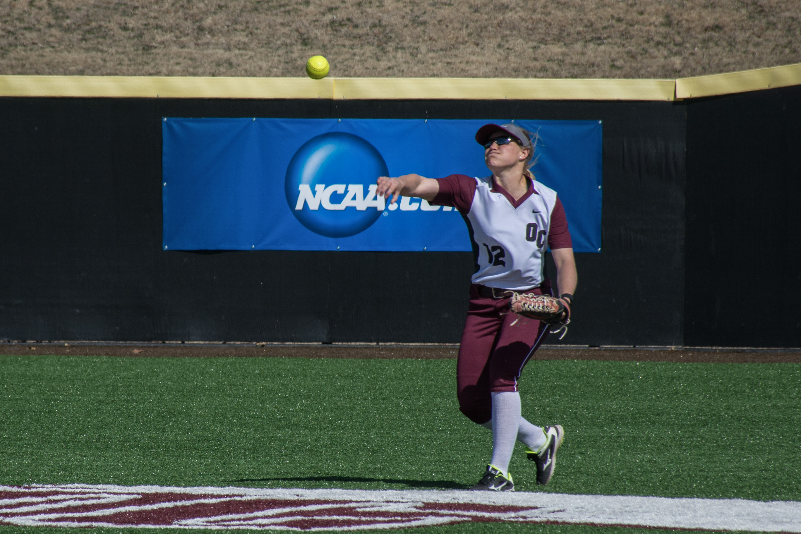 Avery Walker throws to the infield on March 1 against Pitt State. Photo by Abby Bellow.
