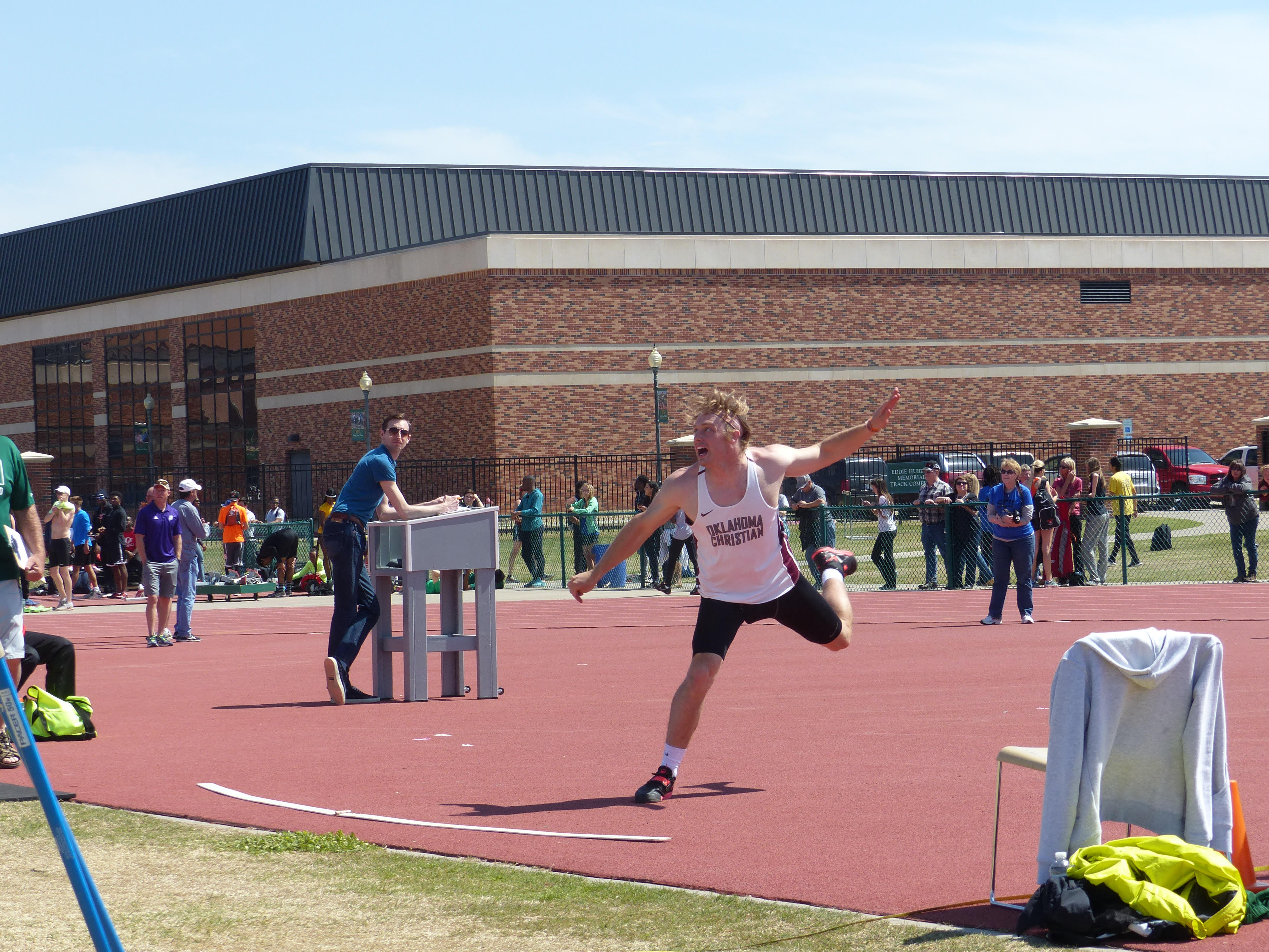 Austin Wallace took first place in the decathlon at the OBU Invitational on March 26. Photo by Murray Evans.
