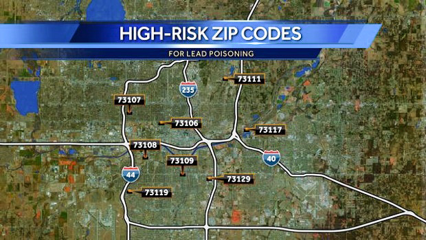 Oklahoma zip codes in risk of lead poisoning. Online Photo