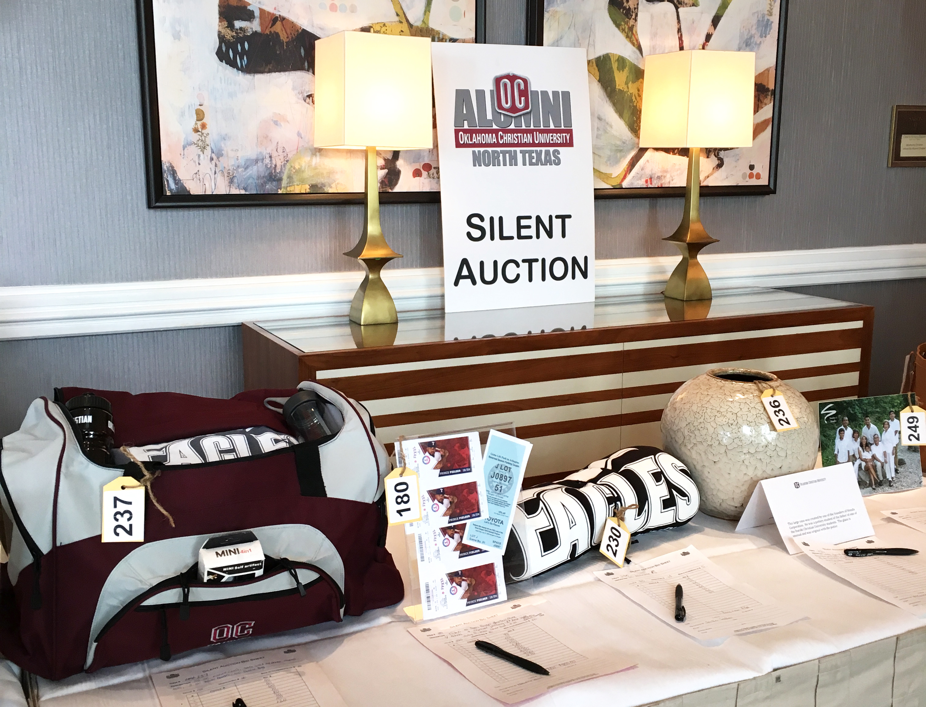 Pictured above: some of the items up for bid at the North Texas Alumni Association Auction. Submitted photo.