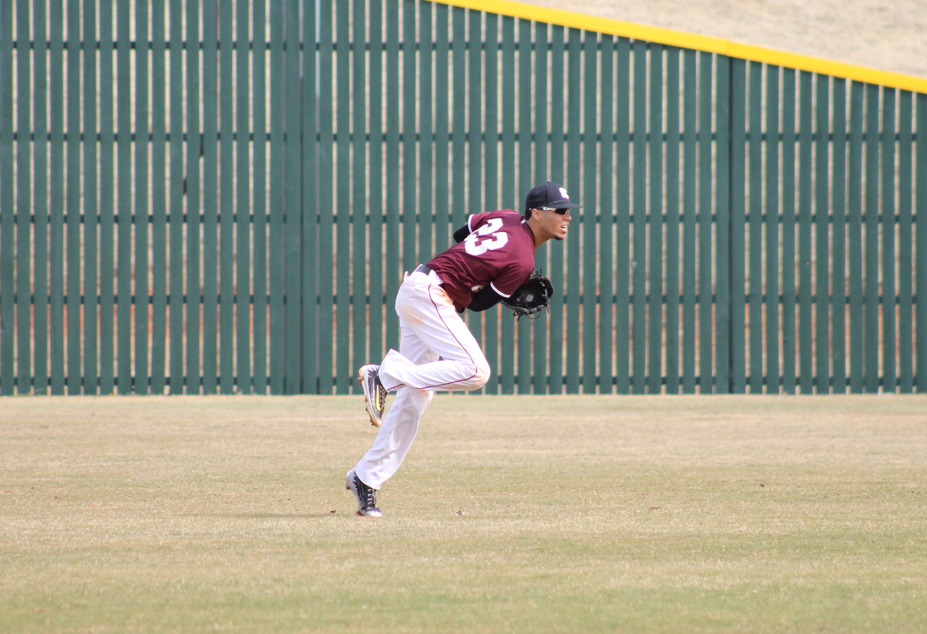 Derek Jones throws a pitch infield in April 12's game against Northwestern Oklahoma State. Photo by Allyson Hazelrigg.