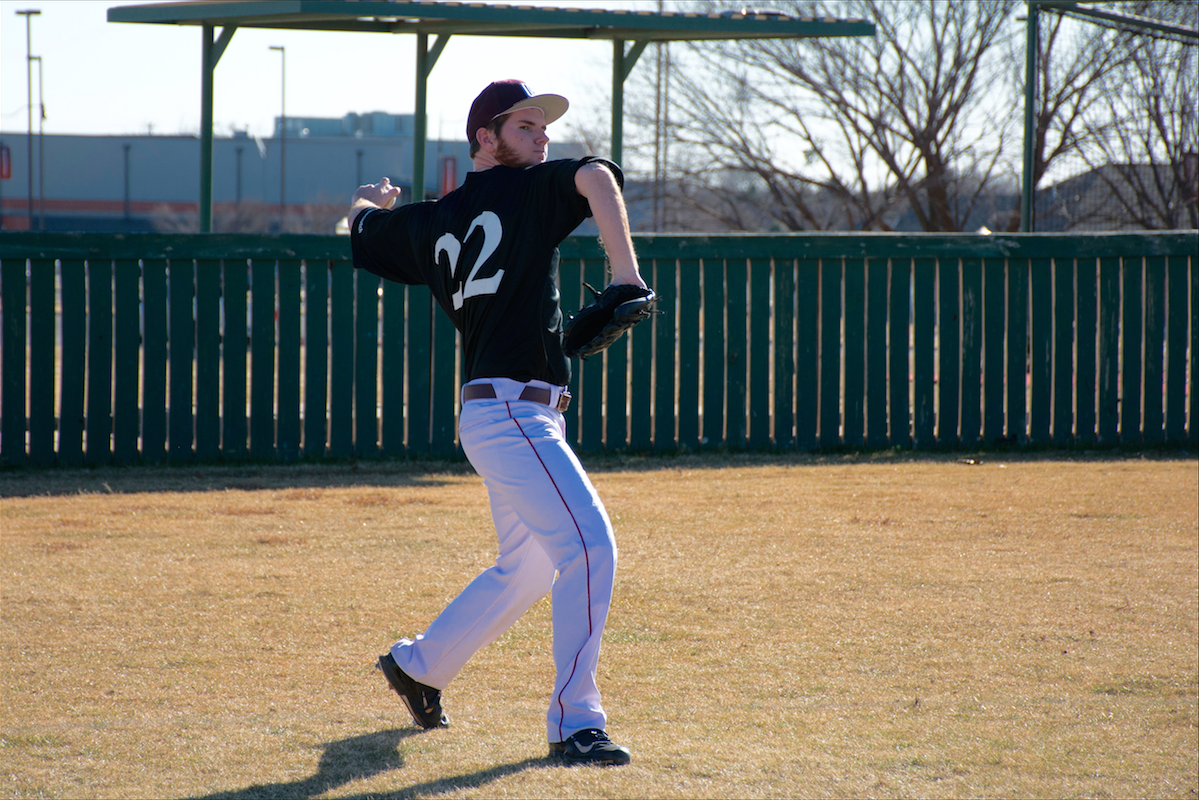 Austin Peck throws the ball infield during the Eagles' game against Oklahoma Panhandle State on April 15-16. Photo by Abby Bellow.