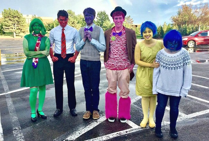 """The Freshman Fanfare Emcees dressed in their """"Inside Out"""" costumes. Submitted photo."""