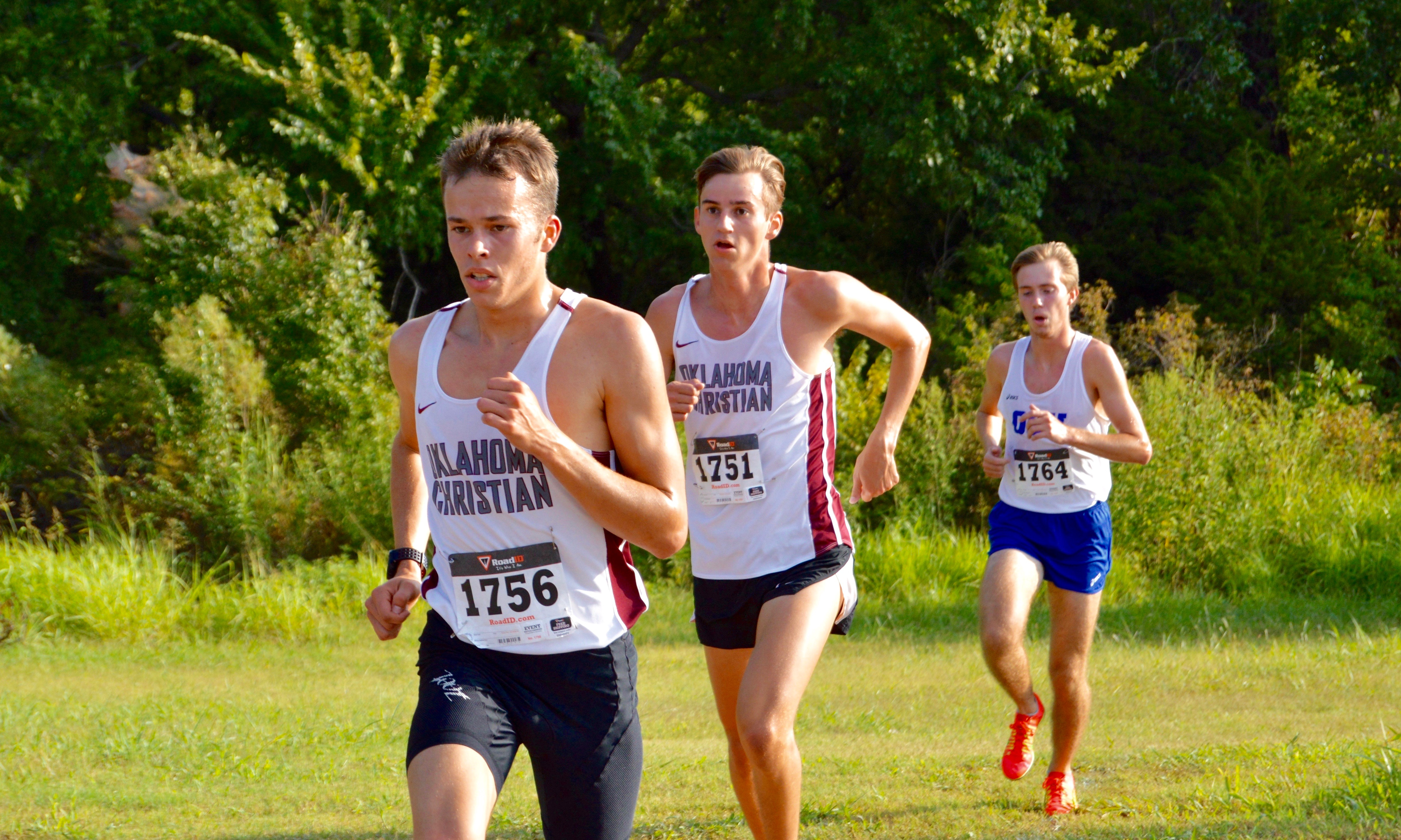 Emory Lobley (front) and Evan Durril (middle) compete at the UCO Land Run on September 3rd. Photo by Katie Jones.