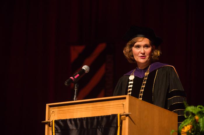 Oklahoma Christian alumna Allison Garrett giving an address at her official inauguration as Emporia State University president. Photo courtesy of Emporia State University.