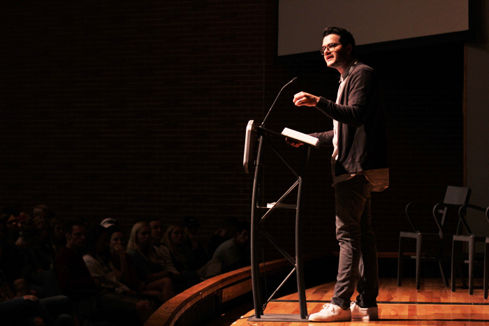 David Bowden speaking in chapel Monday Sept. 26. Photo by Jenny Rigney.