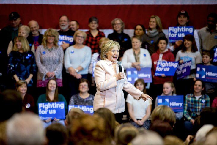 Democratic nominee Hillary Clinton address a crowd in Dubuque, Iowa.