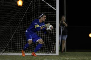 Senior Evan Helker saved two goals in last weeks game against Dallas Baptist University. Photo by Jenny Rigney.