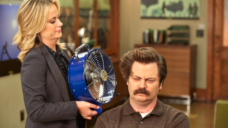 "Leslie Knope and Ron Swanson, played respectively by Amy Poehler and Nick Offerman, interact on ""Parks and Recreation."" Photo from NBC.com."