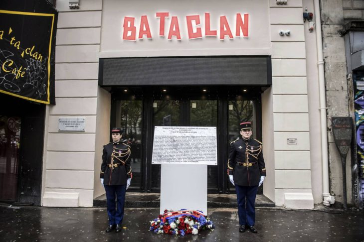 A commemorative plaque unveiled by French President Francois Hollande and Paris Mayor Anne Hidalgo is seen in front of the Bataclan concert hall. Photo from the Chronicle Herald.