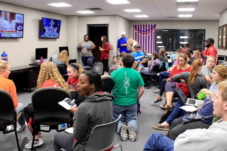 Students from Oklahoma Christian watched the votes come at the Talon Election Party. Photo by Allyson Hazelrigg.