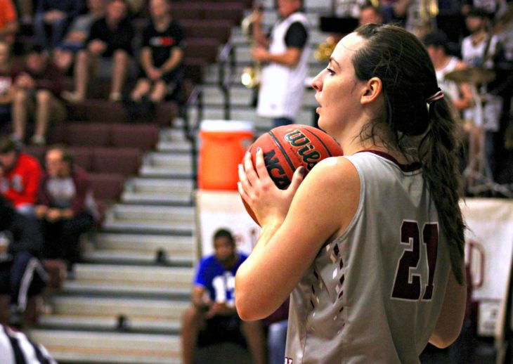 Over Thanksgiving break, both Oklahoma Christian basketball teams played. #21 McKenzie Stafford prepares to throw the ball into play. Photo by Jenny Rigney.