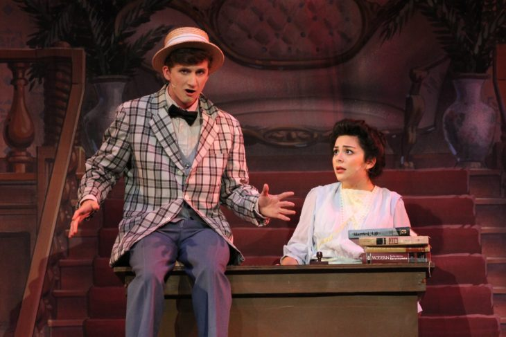 Alex Wiggs and Andrea Ochoa prepare to take the stage in The Music Man. Photo by Allyson Hazelrigg.