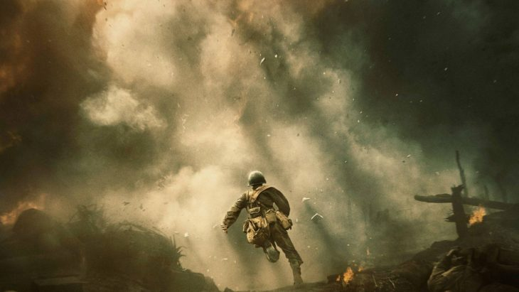 """Private Desmond Doss, played by Andrew Garfield, charges unarmed into battle in Mel Gibson's """"Hacksaw Ridge."""" Online photo."""