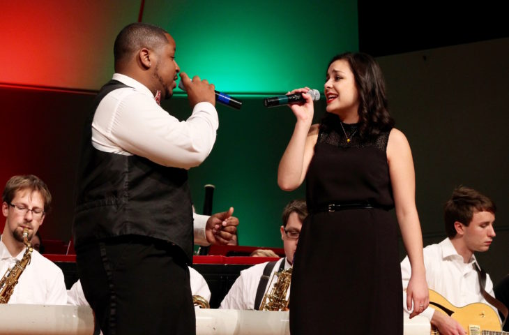 """All I Want For Christmas Is You"" performed by Jabarri Jones and Andrea Ochoa during Cocoa and Carols last night. Photo by Allyson Hazelrigg."