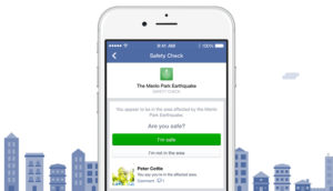 During a disaster, Facebook's Safety Check can help check on others in the affected area. Photo from Facebook.com.