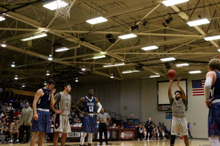 The men's basketball team played games away last week to finish out the season. Photo by Jenny Rigney.