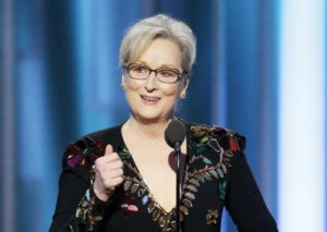 Meryl Streep received the Cecil B. DeMille Lifetime Achievement Award at the 74th Golden Globes. Photo from NBC.