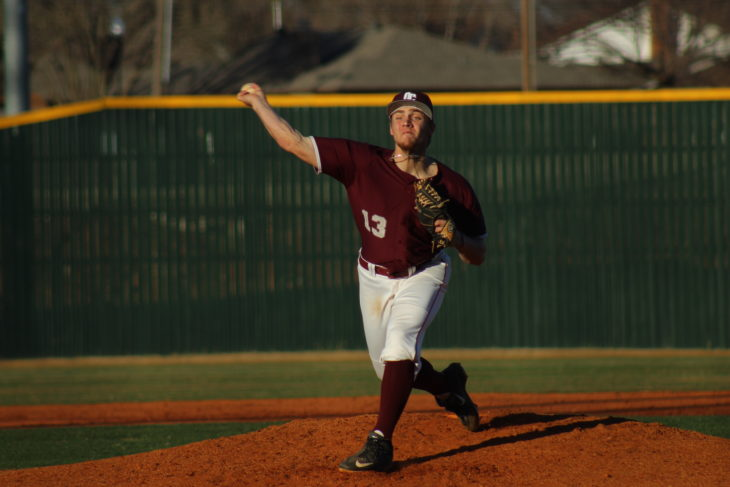 #13 Abe Spencer pitching for the Eagles. Picture by Jenny Rigney