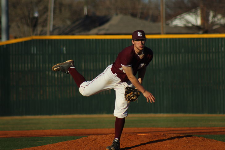 Abe Spencer, #13, pitching for the Oklahoma Christian Eagles. Picture by Jenny Rigney.