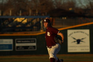 #22 Matthew Fusselman pitching for the Eagles. Picture by Jenny Rigney