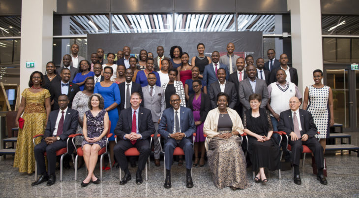 President Kagame and First Lady Jeannete pose for a picture with Oklahoma Christian University alumni on February 10th. Online photo.