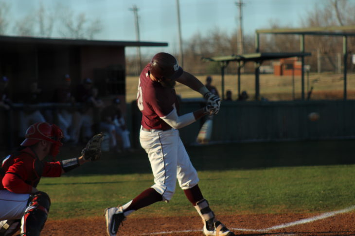 Jake Baxter, #33, making contact at the bat. Picture by Jenny Rigney