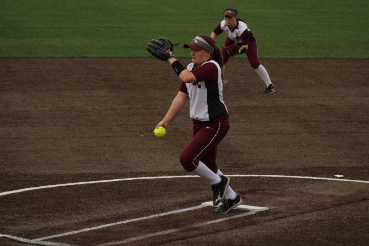 Junior Madison Nordyke throws a pitch for the Lady Eagles. Photo by Jenny Rigney