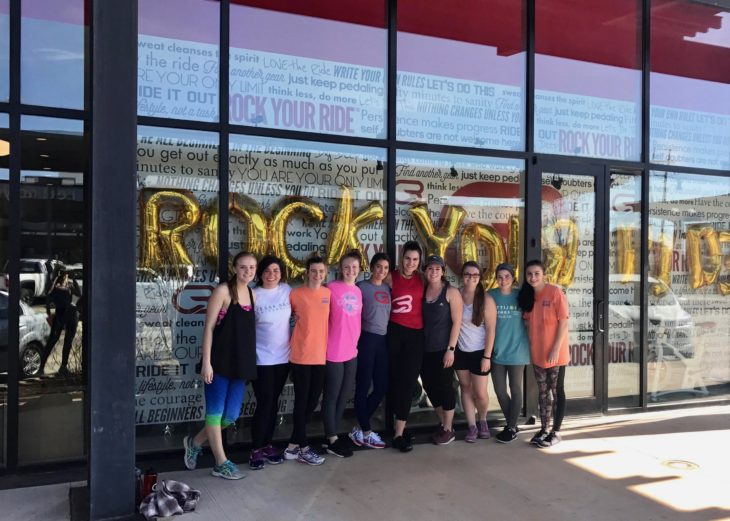 Gamma Rho girls visiting the new CycleBar. Submitted photo.