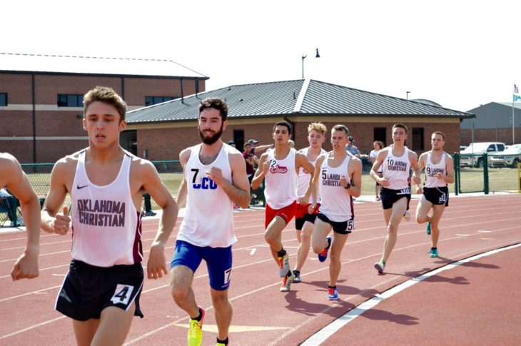Senior Kyle Broaddrick finished second in the 1,500-meter race with a time of 4:07.53. Photo by Katie Jones.