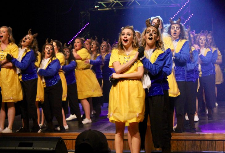 The women of Iota Kappa Phi were named the winners of Spring Sing 2017 Saturday night. Photo by Allyson Hazelrigg.