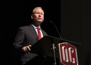 Oklahoma City Mayor Mick Cornett spoke in chapel on March 8th. Photo by Allyson Hazelrigg.