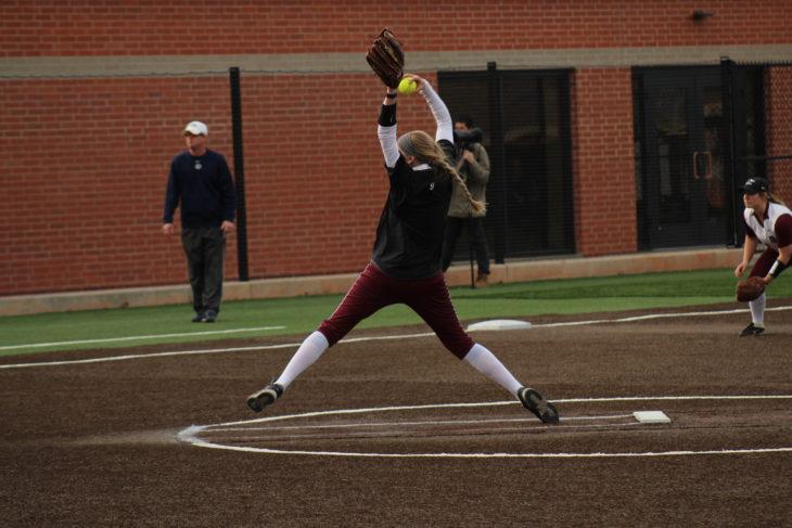 Sophomore Kaylie Upton throws a pitch. Photo by Jenny Rigney.