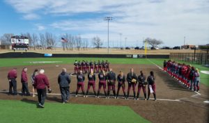 The Oklahoma Christian softball team will honor military members and first responders during the singing of the National Anthem at tonight's home games against Texas Woman's. Photo by Kristyn Hale.