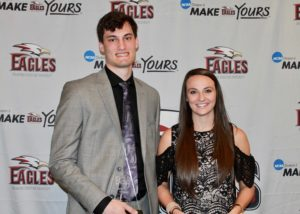 John Moon and McKenzie Stanford were named Mr. and Ms. Eagle at the Maroon Carpet Awards Banquet on Monday. Photo by Allyson Hazelrigg.