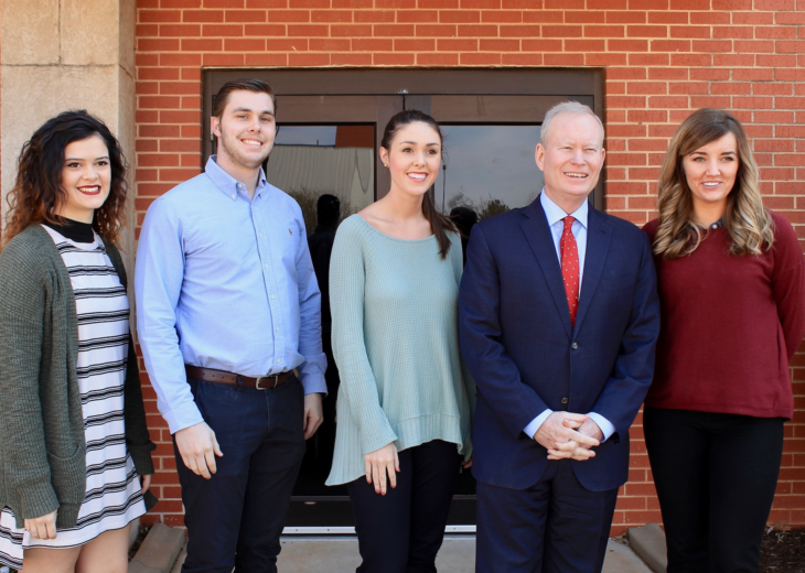 The Eagle PR team with OKC Mayor Mick Cornett after he spoke in chapel. Photo by Allyson Hazelrigg.