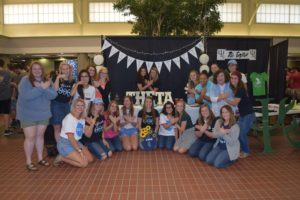 The women of Theta Theta Theta met potential members at their Club Night table on Sept. 5. Photo by Tri-Theta.