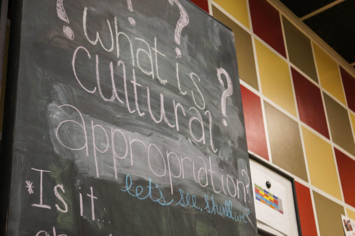 A door in the English Department was used as a place to share concerns about this year's homecoming theme. Photo by Elise Miller.
