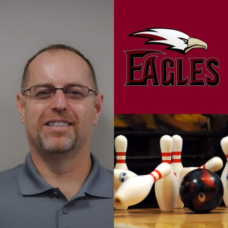 James Hayes joins the Eagles as the head coach of the men's and women's bowling programs. Headshot by Elise Miller. Online graphics.