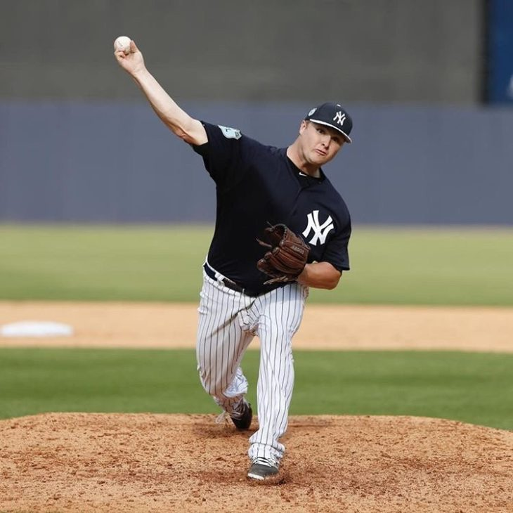 Cale Coshow pitches for the Scranton/Wilkes-Barre RailRiders, the New York Yankee Triple-A team. Online Photo.