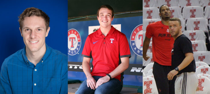 Micah Fryslie, Jake Whiteley and Will Chapman have pursued careers with professional sports teams after graduating from Oklahoma Christian. Submitted photos.
