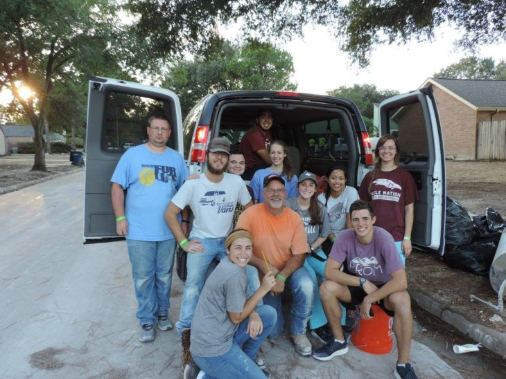 Oklahoma Christian and local Edmond congregations sent 18 vans of students, faculty and church members to Houston, TX during fall break to help with hurricane relief. Submitted photo.