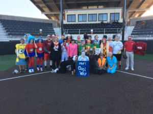 The Oklahoma Christian baseball and softball teams played in a slow pitch costume game on Oct. 30. Submitted photo.